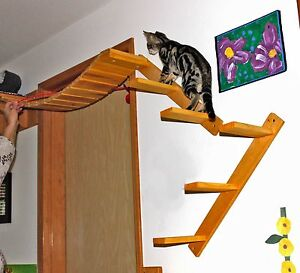 Cat wall mounted bridge perch steps modular tree set b for Cat tree steps