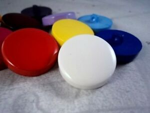 B156-25mm-5pcs-LARGE-PLASTIC-SHANK-JACKET-SOLID-FLAT-ITALIAN-BUTTONS-LOT-COLOUR