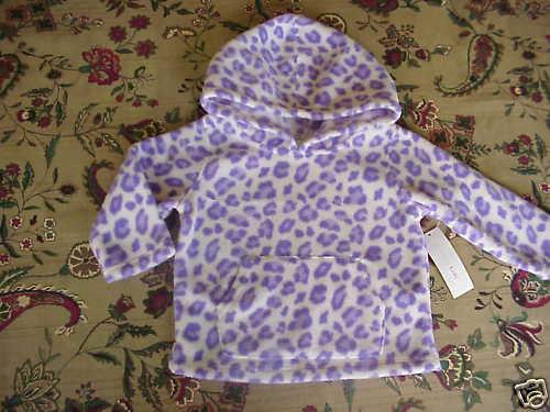 NWT Girls Soft Fleece Hoodie Purple Leopard Print 12 mo