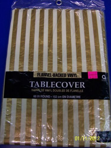 """Gold /& White Stripe Banquet Party 60/"""" Round Flannel-Backed Vinyl Tablecover"""