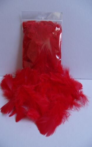 """1.5 />3.5/"""" RED CRAFT FEATHERS  5gm  Approx 20-25 pcs  30 />75 mm mixed"""