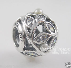 3e6b64e1f Image is loading LUMINOUS-LEAVES-Authentic-PANDORA-Silver-WHITE-PEARL-Clear-