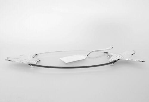 Fischplatte Glas Versilbert Heber Servierplatte Servierteller Tablett Buffet