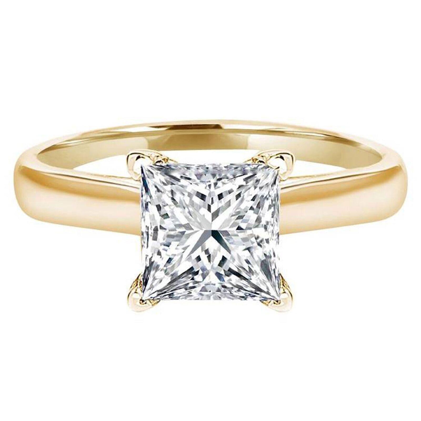 3.1ct Princess Cut Wedding Bridal Engagement Anniversary Ring 14k Yellow gold