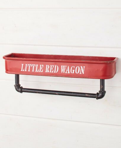 Distressed Vintage Red Wagon Wall Shelf Kitchen Towel Rod Rack