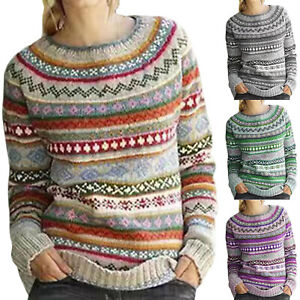 Womens-Jacquard-Fair-Isle-Sweater-Long-Sleeve-Crew-Neck-Pullover-Knitted-Jumper