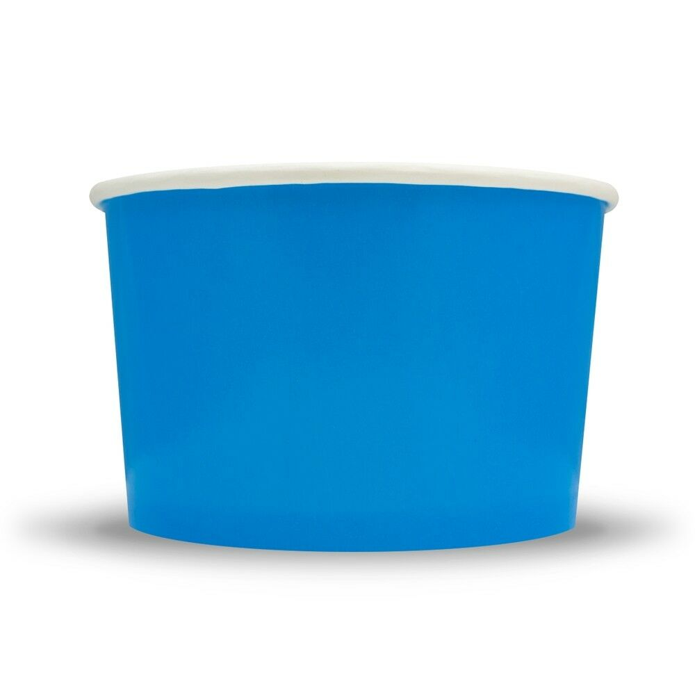 Blau Ice Cream Paper Cups - 20 oz Disposable Birthday Party Cups - Dessert Bowls