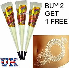 1 X INDIAN IMPORTED WHITE COLOR Temporary Tattoo Henna Body Paint Gel Cone