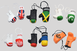 MINI BOXING GLOVES FOR CAR VAN MIRROR HANGING MINIATURE GIFT SPORTS COUNTRIES