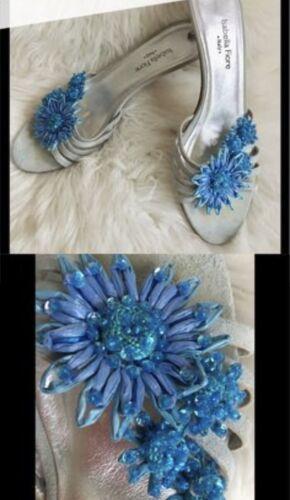 ISABELLA FIORE Italian BlueGrey Suede Kitten heels