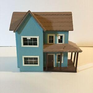 Miniature-Dollhouse-Display-Tiny-Blue-House-Handmade-5-034-x-3-034-x-5-034
