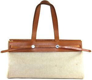Auth HERMES Shoulder Bag Herbag Cabase GM Tote Toile Natural Canvas ... 7d1c538d99370