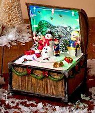 LED Snowman Christmas Animated Music Box Tabletop DECOR Snowman Motionette Tree
