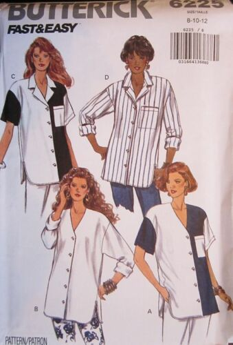 Vintage Butterick SEWING Pattern 6225 Misses SO EASY Shirt 8-24 UNCUT OOP SEW FF