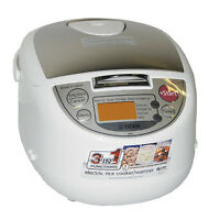 Tiger JBA-T10U 5.5-Cup Micom Rice Cooker with Food Steamer (White)