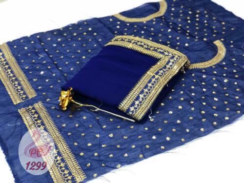Saree Sari Indian Designer Wear Wedding Blouse Fancy Work Sc Border Embroidery