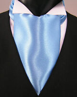 Light blue cravat/ruche with matching hanky, self-tie
