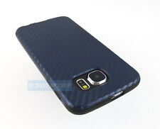 FOR SAMSUNG GALAXY S 6 S6 NAVY BLUE DELUXE TPU CARBON FIBER FABRIC CASE COVER