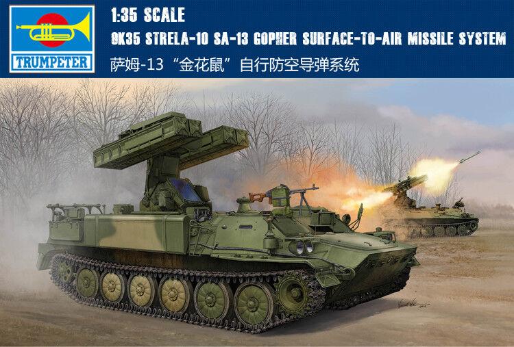 Russian 9K35 Strela-10 SA-13 Gopher Tank 1 35 Armored Car Kit Trumpeter 05554