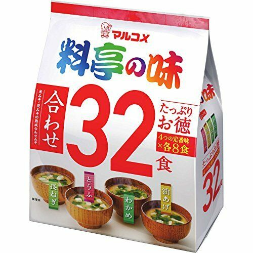 Marukome Instant Miso soup 32p / Japanese Miso soup 4 taste x 8p from Japan