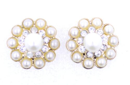 Tono Oro 1.5cm Flor Aretes Con Cristal Y Perlas