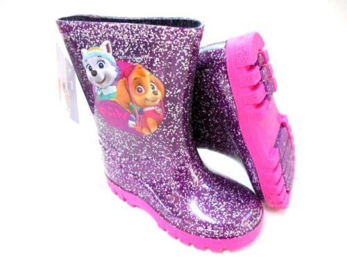 Le ragazze NUOVO Paw Patrol Glitter Wellies Skye Everest WELLY Stivali in 5-10