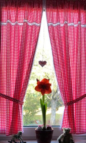 Landhaus Gardine Set 2St weiß rot kariert Spitze 140x75Gesamt150cm+2 Bänder Tina