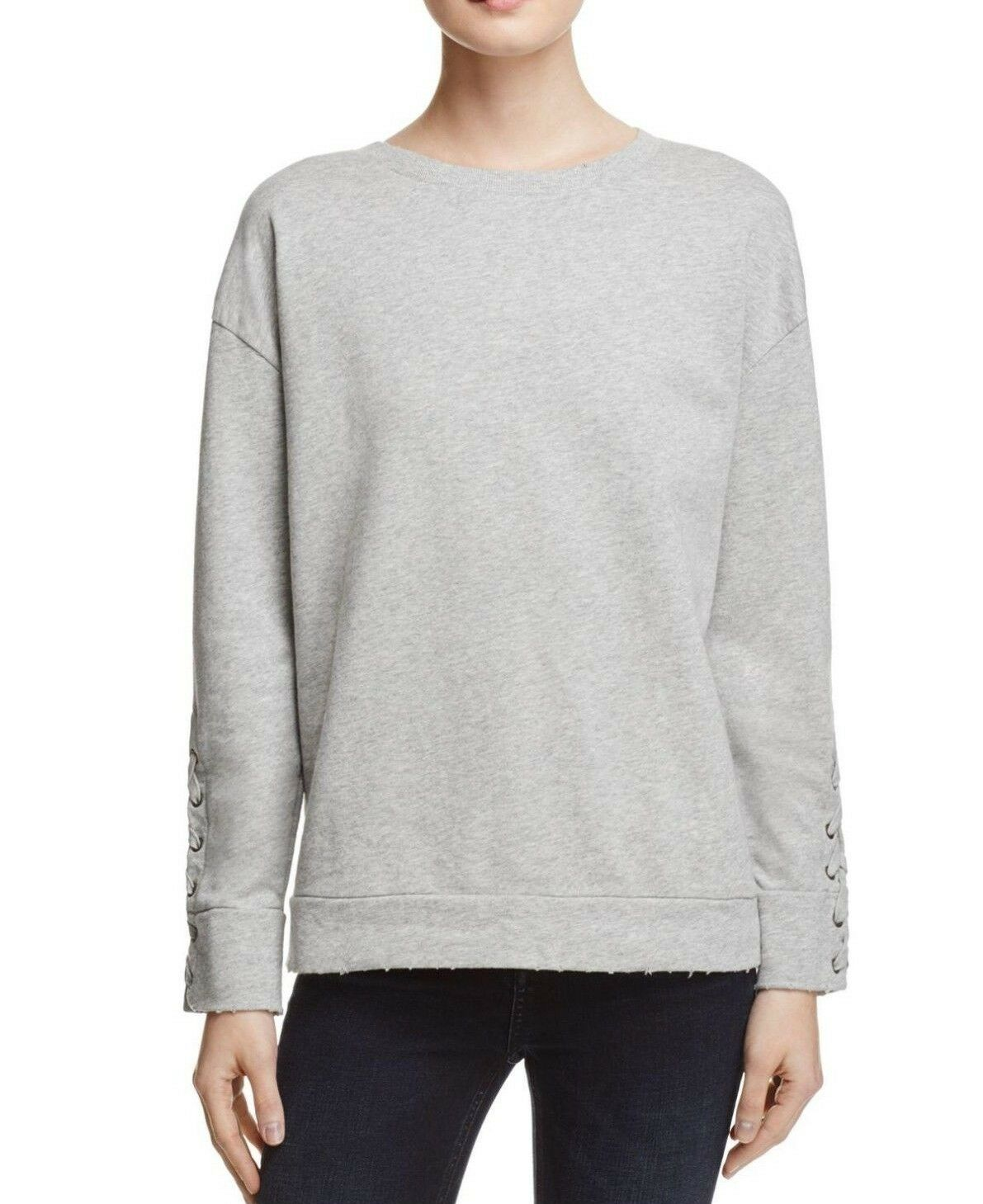NWT JOE'S SzM MIAYA LACE-UP SLEEVE SWEATSHIRT IN DISTRESSED HEATHER grau