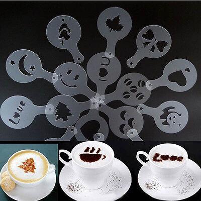 Fashion 16Pcs Creative Coffee Machine Print Template Strew Pad Duster Spray Art