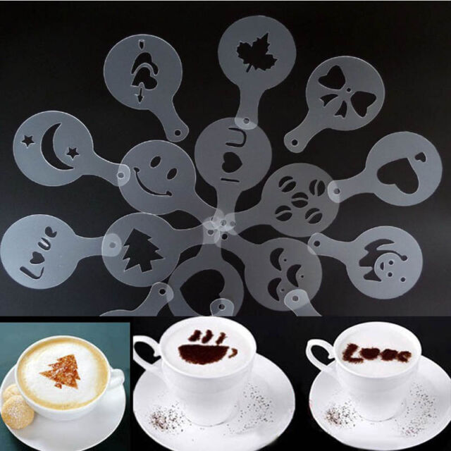 Exotic 16Pcs Creative Coffee Machine Print Template Strew Pad Duster Spray Art