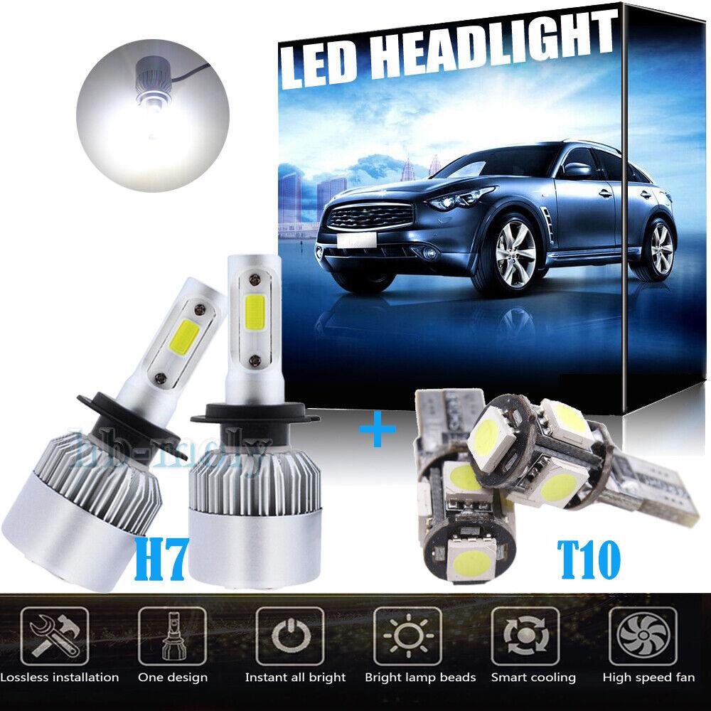 4Pcs H7 501 6000k Xenon White Vision LED Headlight Bulb For Audi A3 8l 8p A2 12V
