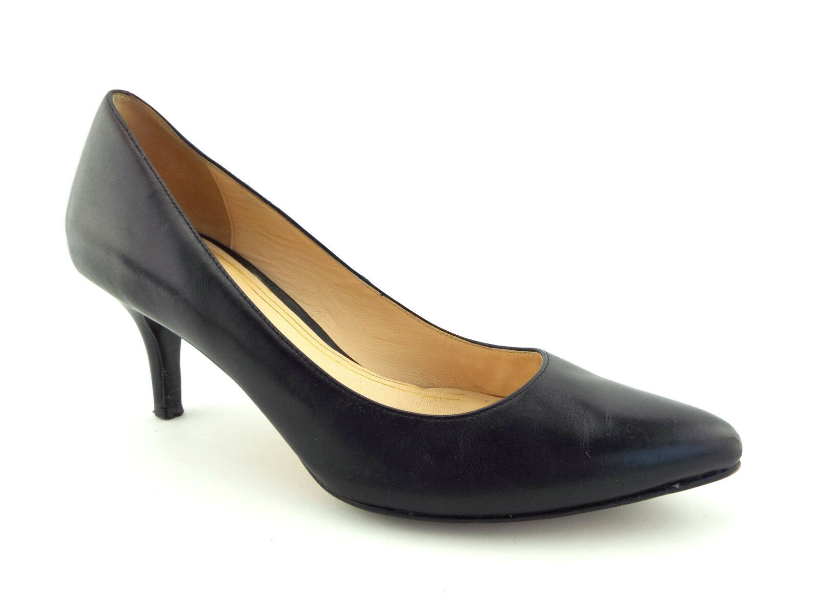 COLE HAAN Size 7.5 Black Leather Heels Pumps Pumps Pumps shoes 7 1 2 ff3394