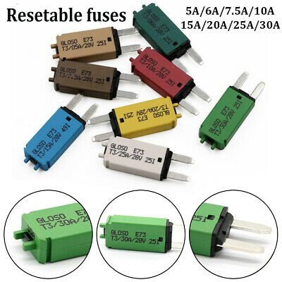 5-30A ATM Mini Circuit Breaker Blade Fuse Manul Resettable Marine Car RV 12V