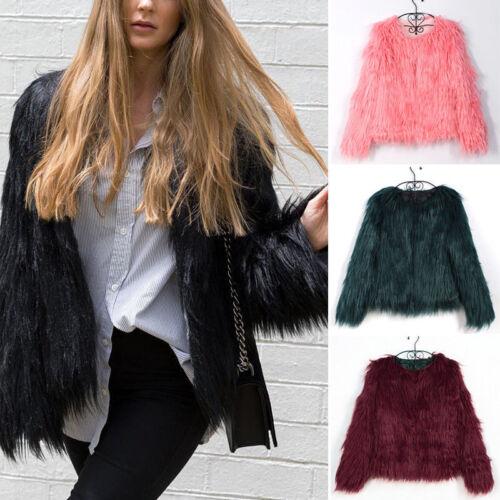 Womens Shaggy Fluffy Faux Fur Coat Winter Warm Cardigan Jacket Overcoat Outwear