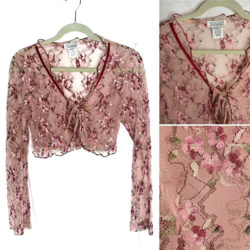 Vintage 90s Y2K Pink floral lace front tie cardiga