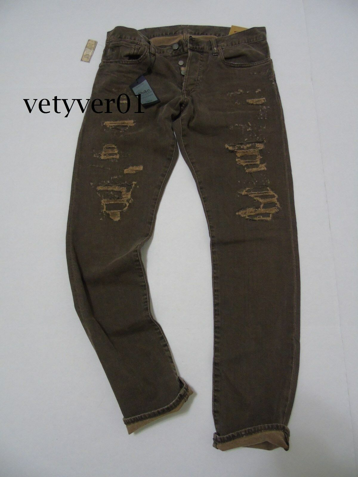 Polo RALPH LAUREN Sullivan Repaired Distressed Ripped Slim Fit Jeans Pants Brown