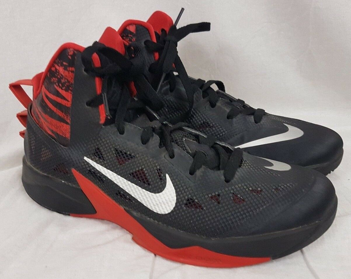 Nike Zoom Hyperfuse 2013 Black Red Men's Basketball Shoes Comfortable Comfortable and good-looking