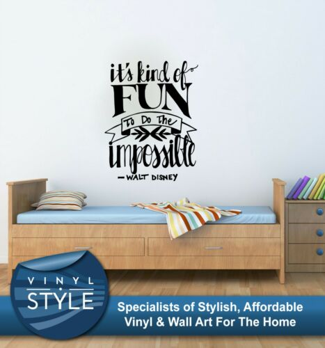 FUN TO DO THE IMPOSSIBLE WALT DISNEY QUOTE WALL ART GRAPHIC VARIOUS COLOURS