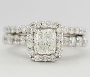 2212481a7d1860 1.6 ct 14K White Gold Radiant Cut Diamond Halo Engagement / Wedding ...