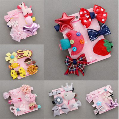 6PCS Kawaii Hairpin Baby Girl Hair Clip Bow Flower Mini Barrettes Kids Infant