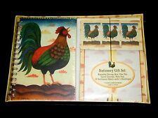 Rooster Stationery Gift Set Pen Journal Note Pad & Paper in Reusable Storage Box