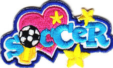 """""""SOCCER"""" w/BALL & STARS PATCH-Iron On Embroidered Applique - Sports, Competition"""