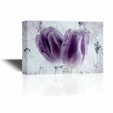 wall26 - Canvas Wall Art - Two Purple Tulip Flower Petals - 16x24 inches