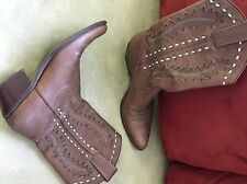 Womens Leather Cowboy Boots 6 1/2M Brown Turquoise Mid Calf Slip On Montana