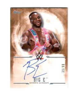 WWE-Big-E-2017-Topps-Undisputed-Bronze-On-Card-Autograph-SN-39-of-99