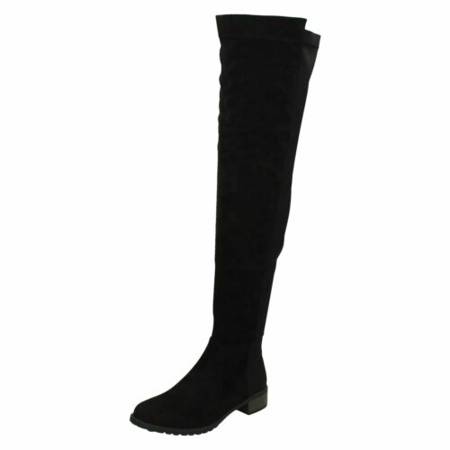 Details about  /Ladies Spot On Synthetic Flat Over The Knee Boots