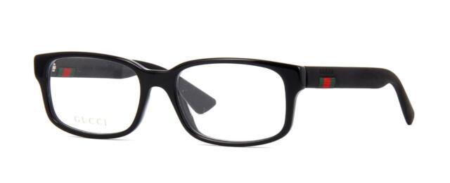 b01523622b8 Authentic Gucci Gg0012o 001 Black Plastic Rectangle Eyeglasses 54mm ...