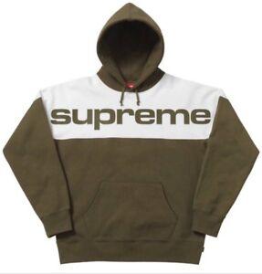 65dbda1fea31 Image is loading Supreme-Blocked-Hooded-Sweatshirt-Dark-Olive-Mens-Hoodie-