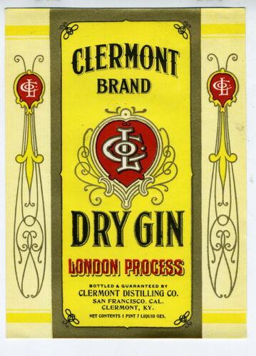 1920s Label for Clermont Brand Dry Gin San Francisco & Clermont Kentucky