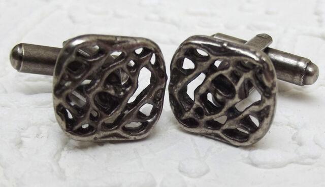 Mens cufflinks Square faces Lattice pattern